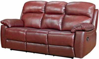 Aston Chestnut Leather 3 Seater Recliner Sofa