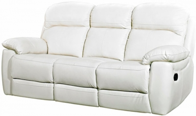 Aston Ivory Leather 3 Seater Fixed Sofa