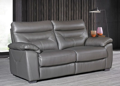 Como Grey Leather 3 Seater Fixed Sofa