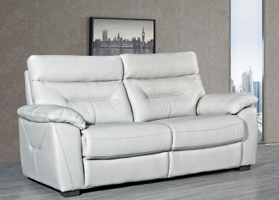 Como Putty Leather 3 Seater Fixed Sofa