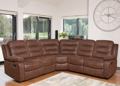 Dakota Brown Fabric Corner Group Sofa