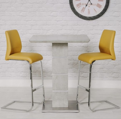 Delta Concrete Bar Table and 2 Seattle Ochre Stool