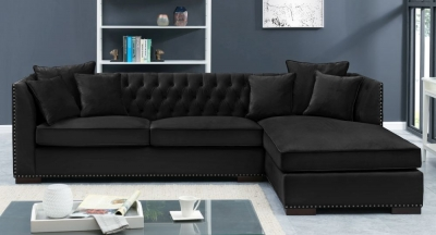 Brentford Black Velvet Fabric Corner Sofa Suite - Right