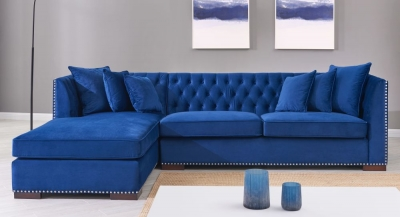Brentford Blue Velvet Fabric Corner Sofa Suite - Left