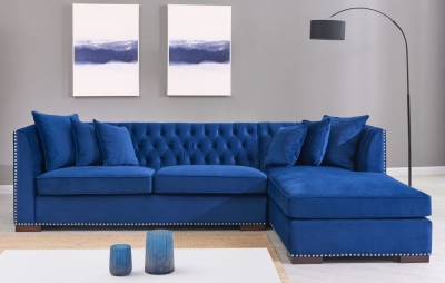 Brentford Blue Velvet Fabric Corner Sofa Suite - Right