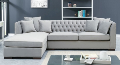 Brentford Grey Velvet Fabric Corner Sofa Suite - Left