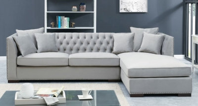 Brentford Grey Velvet Fabric Corner Sofa Suite - Right