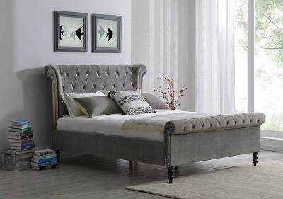 Alfreton Silver Velvet Fabric Bed