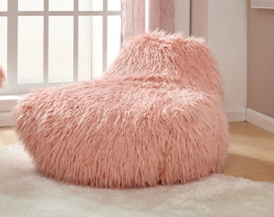 Pink Faux Sheepskin Fur Bean Bag