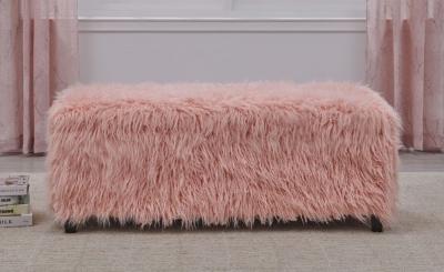 Pink Faux Sheepskin Fur Ottoman