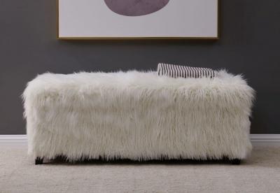 White Faux Sheepskin Fur Ottoman
