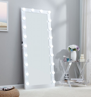 Hollywood White Rectangular Floor Lighting Mirror - 70cm x 170cm