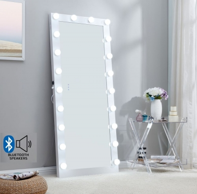 Hollywood White Rectangular Floor Lighting Mirror with Bluetooth - 70cm x 170cm