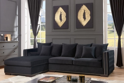 Meltham Black Velvet Fabric Corner Sofa Suite - Left