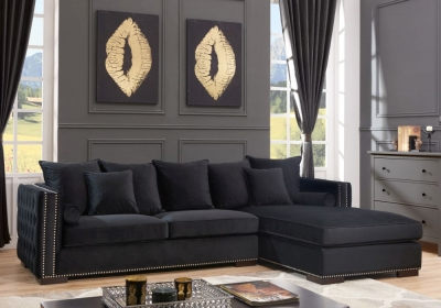 Meltham Black Velvet Fabric Corner Sofa Suite - Right