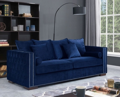 Meltham Blue Velvet Fabric 3 Seater Sofa