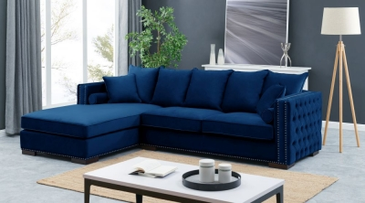 Meltham Blue Velvet Fabric Corner Sofa Suite - Left