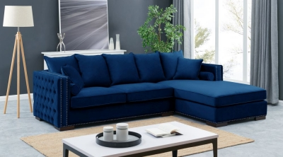 Meltham Blue Velvet Fabric Corner Sofa Suite - Right