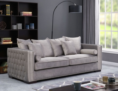 Meltham Silver Velvet Fabric 3 Seater Sofa