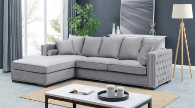 Meltham Silver Velvet Fabric Corner Sofa Suite - Left