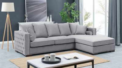 Meltham Silver Velvet Fabric Corner Sofa Suite - Right
