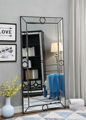Omaha Black Rectangular Tall Mirror - 90cm x 180cm