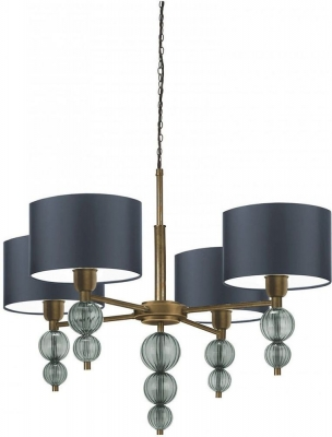 Alette Opal Jade Glass and Antique Brass Chandelier with Dark Teal Satin Shade
