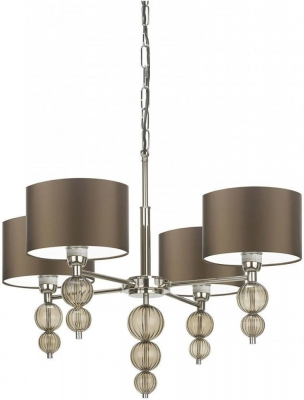 Alette Smoke Glass and Nickel Chandelier with Gilt Satin Shade