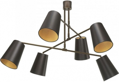 Andromeda Antique Brass Chandelier with Mocha Satin Shade