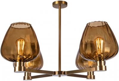 Giselle Amber Glass and Antique Brass Chandelier