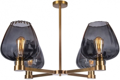 Giselle Slate Glass and Antique Brass Chandelier