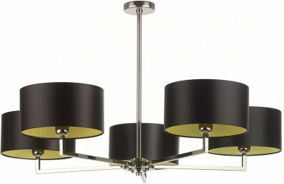 Holt 5 Arm Nickel Chandelier with Black Satin Shade