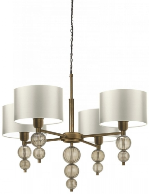 Alette Smoke Chandelier with Ivory Satin Shade