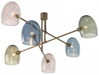 Andromeda Antique Brass Mixed Glass Chandelier