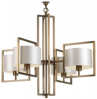 Conniston Antique Brass Chandelier with Ivory Satin Shade