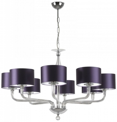 Czarina Clear 8 Arm Chandelier with Purple Satin Shade