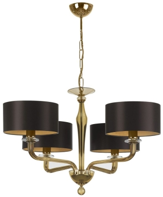 Czarina Gold 4 Arm Chandelier with Chocolate Satin Shade