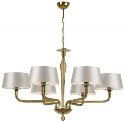 Czarina Gold 6 Arm Chandelier with Ivory Satin Shade