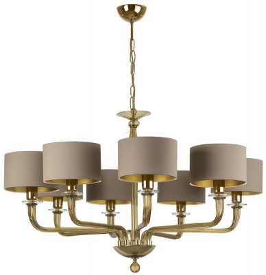 Czarina Gold 8 Arm Chandelier with Pebble Silk Shade