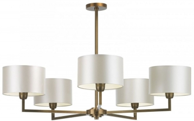 Holt Antique Brass 5 Arm Chandelier with Ivory Satin Shade