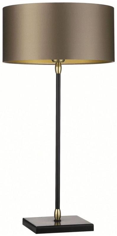 Casablanca Antique Brass Table Lamp with Gilt Satin Shade
