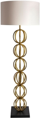 Rollo Antique Gold Floor Lamp with Oyster Glaze Linen Shade