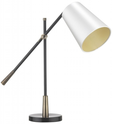 Andro Antique Brass Table Lamp with Ivory Satin Shade