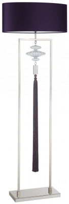 Constance Polished Nicke Floor Lamp with Purple Satin Shade