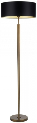 Torchere Antique Brass Floor Lamp with Black Satin Shade