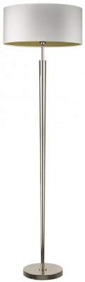 Torchere Nickel Floor Lamp with Ivory Satin Shade