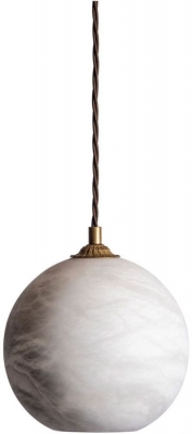 Rhea Milky White Glass and Antique Brass Pendant