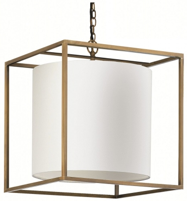 Derwent Antique Brass Large Cube Pendant with Oyster Glaze Linen Shade