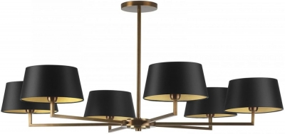 Holt Antique Brass 6 Arm Pendant with Black Satin Shade