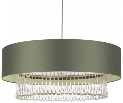 Roehampton Chrome 32 Crystal Pendant with Cactus Satin Shade